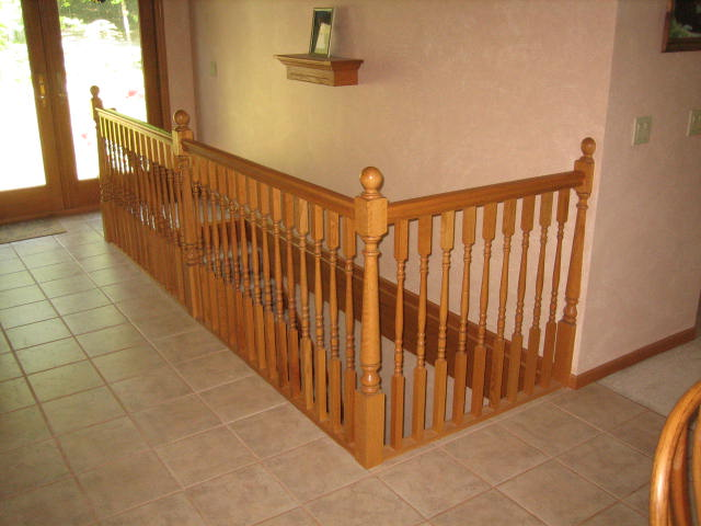 Oak Railing and Mini Wall Mantel