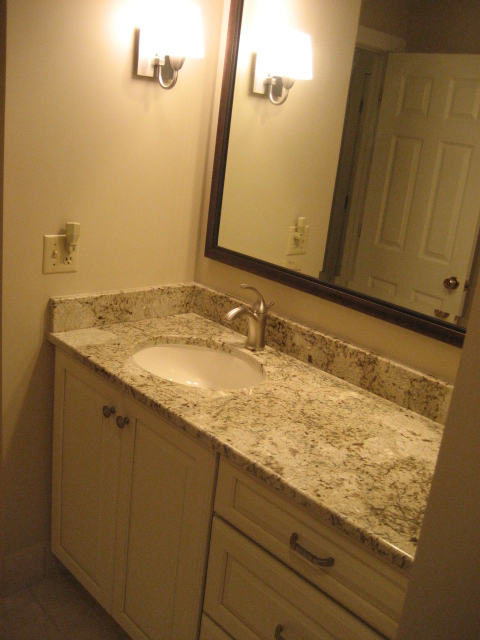 NEW CABINET, TOP, FAUCET, AND MIRROR
