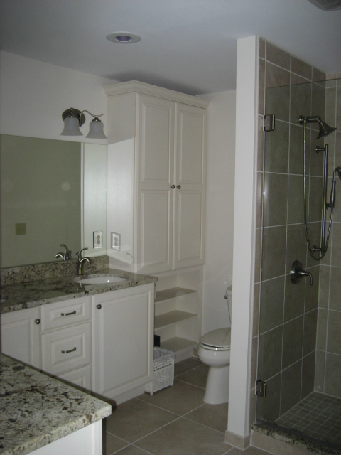 NEW TILE, TOILET, CABNETS